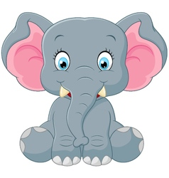 Cute elephant cartoon vector image