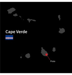 Detailed map of Cape Verde and capital city Praia vector image