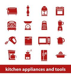 kitchen appliances and tools icons vector image vector image