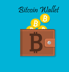 mobile wallet with bitcoin cryptocurrency vector image vector image