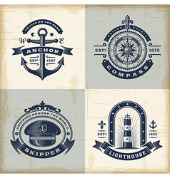 Set of vintage nautical labels vector image vector image