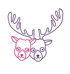 Silhouette cute elk head animal couple together vector