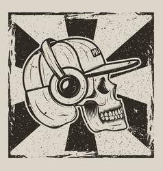 skull music side view vintage grunge design vector image