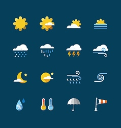 Weather colour icons set Flat design vector image vector image