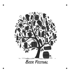 Beer tree sketch for your design vector image