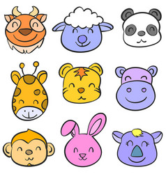 cartoon animal head doodle style vector image vector image