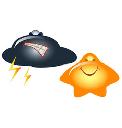 emoji emoticons in the form of funny cloud and vector image vector image