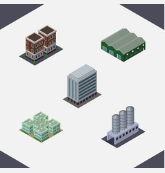 isometric construction set of water storage vector image vector image
