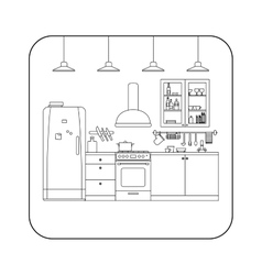 Kitchen line interior vector image vector image