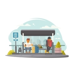 Passengers at bus stop vector image vector image