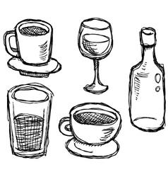 scribble series - drinks vector image vector image