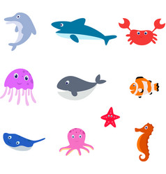 sea animal cartoon vector image