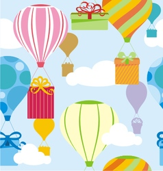 Gifts and balloons pattern vector image