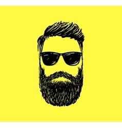 Hipster fashion man hair and beards Hand drawn vector image vector image