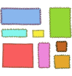 set of textile patches vector image vector image