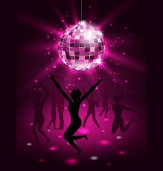 silhouette people dancing in night-club disco vector image