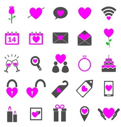 Valentines day color icons on white background vector image