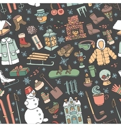 Winter doodle seamless patternColored elements vector image vector image