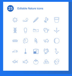 25 nature icons vector image