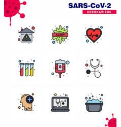 9 filled line flat color coronavirus epidemic vector
