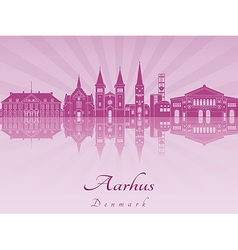 Aarhus skyline in purple radiant orchid vector image