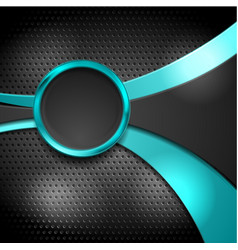 abstract waves and circle on dark perforated vector image