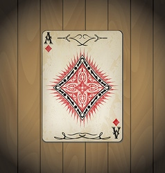 Ace diamonds poker cards old look varnished vector