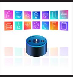Amazon echo dot on white background smart speaker vector