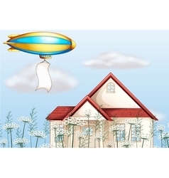 An aircraft above a house with a banner vector image