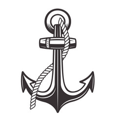 anchor with rope monochrome vector image