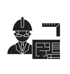 architect builder black concept icon vector image