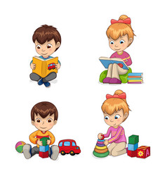 attentive children reading vector image