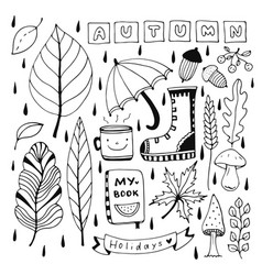 autumn doodle set for seasonal decorations vector image