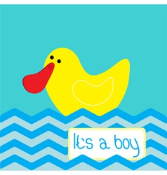 Baby boy shower card with cute ducke vector