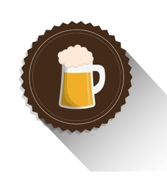beer mug glass foam alcohol label shadow vector image