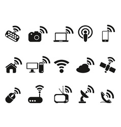 black wireless technology icons set vector image