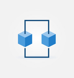 Blue block chain icon blockchain flat sign vector