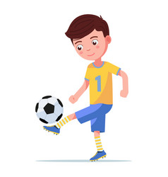 Boy soccer player kicking ball on his leg vector