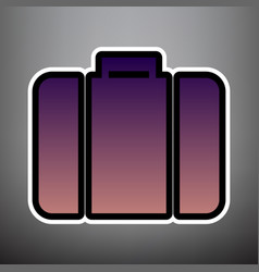 briefcase sign violet vector image