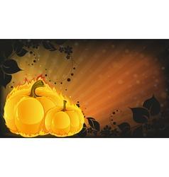 Burning pumpkins on radiant background vector