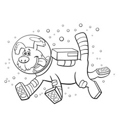 cartoon dog in space comic character coloring vector image