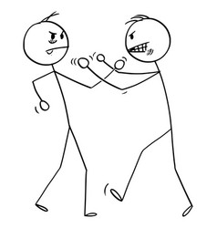 Cartoon two angry men fighting with fists vector