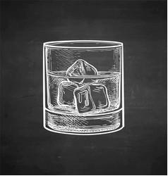 Chalk sketch whiskey glass vector