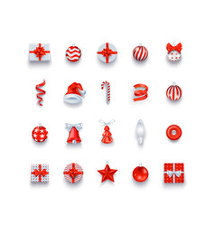 Christmas icons and objects set holidays vector