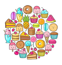 Circle from the funny sweets fruit and ice cream vector