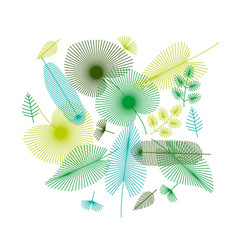 Concept tropical leaves set for print and web vector