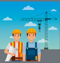 construction workers with helmet crane on sky vector image