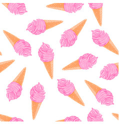 Cool summer seamless pattern with sketch berry ice vector