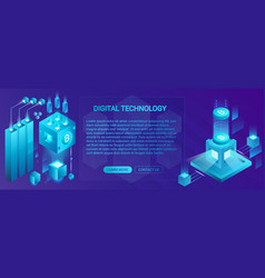 Cryptocurrency ico and blockchain banner concept vector