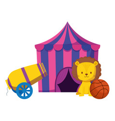 Cute circus lion with rocket and balloon vector